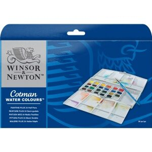 Winsor And Newton COTMAN WATER COLOURS PAINTING PLUS 24 HALF PAN SET
