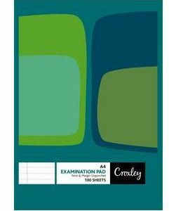 Croxley JD571 F&M 100 Sheet Unpunched & Ruled Examination Pad