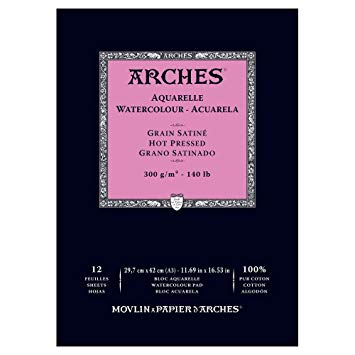 Arches Watercolour Pad A3 Hot Pressed 300g