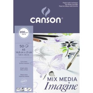 CANSON DESSIN BLANC IMAGINE A4 MIX MEDIA PAD 200G 50 SHEETS